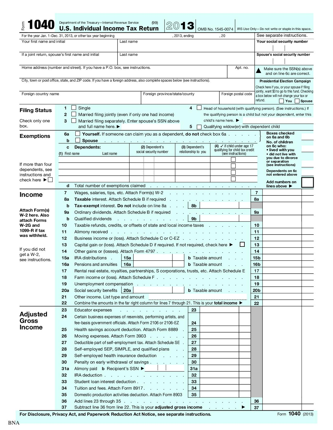 1040 u.s. individual income tax return with schedule c